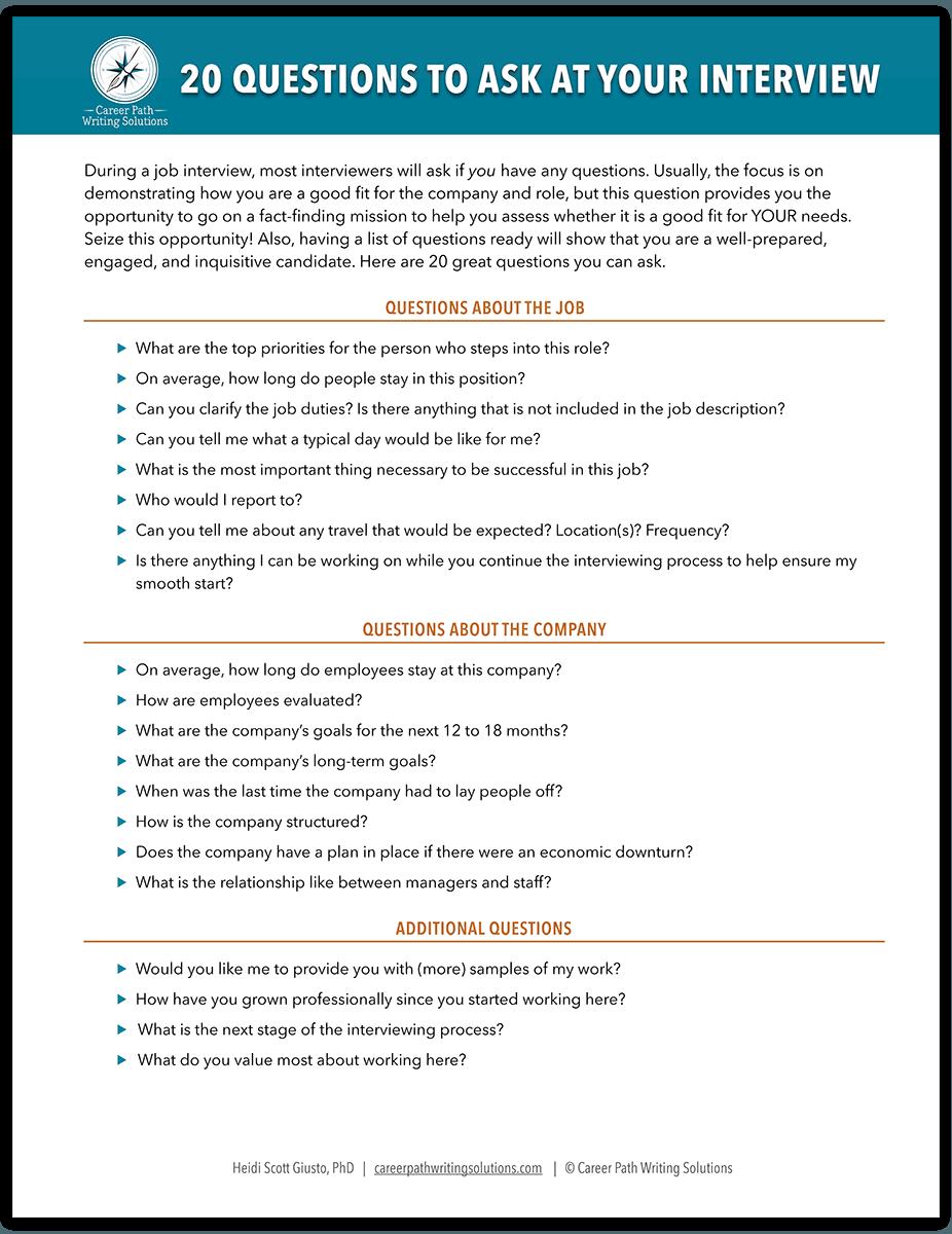 20 Questions Worksheet