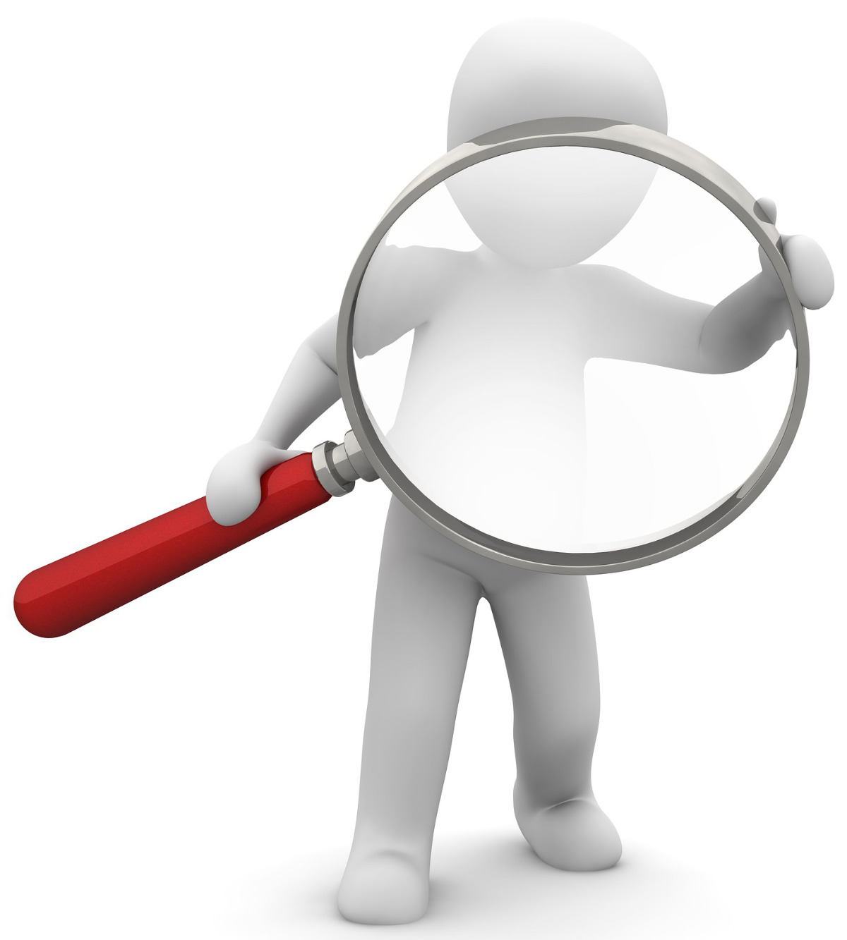 Figure With Magnifying Glass Researching A Company