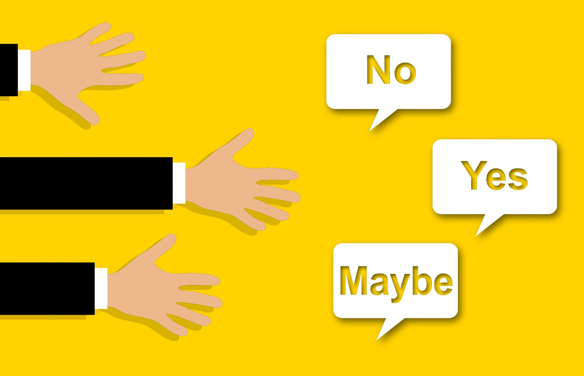 Hands Reaching Toward Yes, No, And Maybe Options In Speech Bubbles